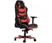 Кресло для геймеров DXRACER IRON OH IS 166 NR (чёрное/красные вставки) PU кожа, Al основание