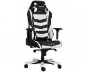 Кресло для геймеров DXRACER IRON OH IS 166 NW  (чёрное/белые вставки) PU кожа, Al основание