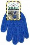 Перчатки  DOLONI синие трикотажные (2 нитки) с синим ПВХ рисунком (р.10, пара),  646