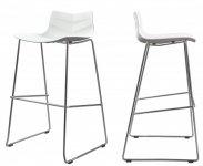 Барный пластиковый стул Leaf (Лиф) Concepto, белый