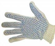 Перчатки 577 вязаные в 3 нити (ладошка в синюю точку, пара).
