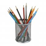 Подставка для ручок круглая, металлическая сеточка. Размер 80х80х100мм. Цвет: серебристый.