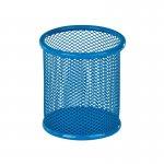 Подставка для ручок круглая, металлическая сеточка. Размер 80х80х100мм. Цвет: голубой.