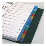 Разделители страниц, А4. Материал: полипропилен.Толщина пластика: 160 мкм. 12 разделов в 6 цветах. Универсальная перфорация, лист описи.