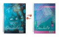 Книга записна DOUBLE, А6, 96 арк., клітинка, тверда ламінована обкладинка, бірюзова/блакитна