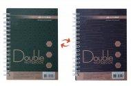 Книга записна DOUBLE, А6, 96 арк., клітинка, тверда ламінована обкладинка, зелена/коричнева