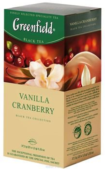 Чай черный Greenfield VANILLA CRANBERRY, black tea,  25 пак.